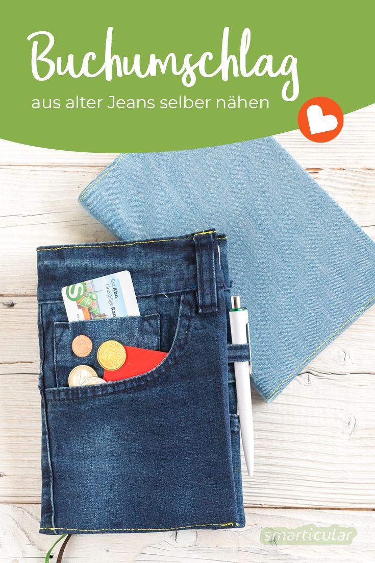 Buchumschlag selber nähen aus alter Jeans - praktische Schutzhülle für Kalender & Co.