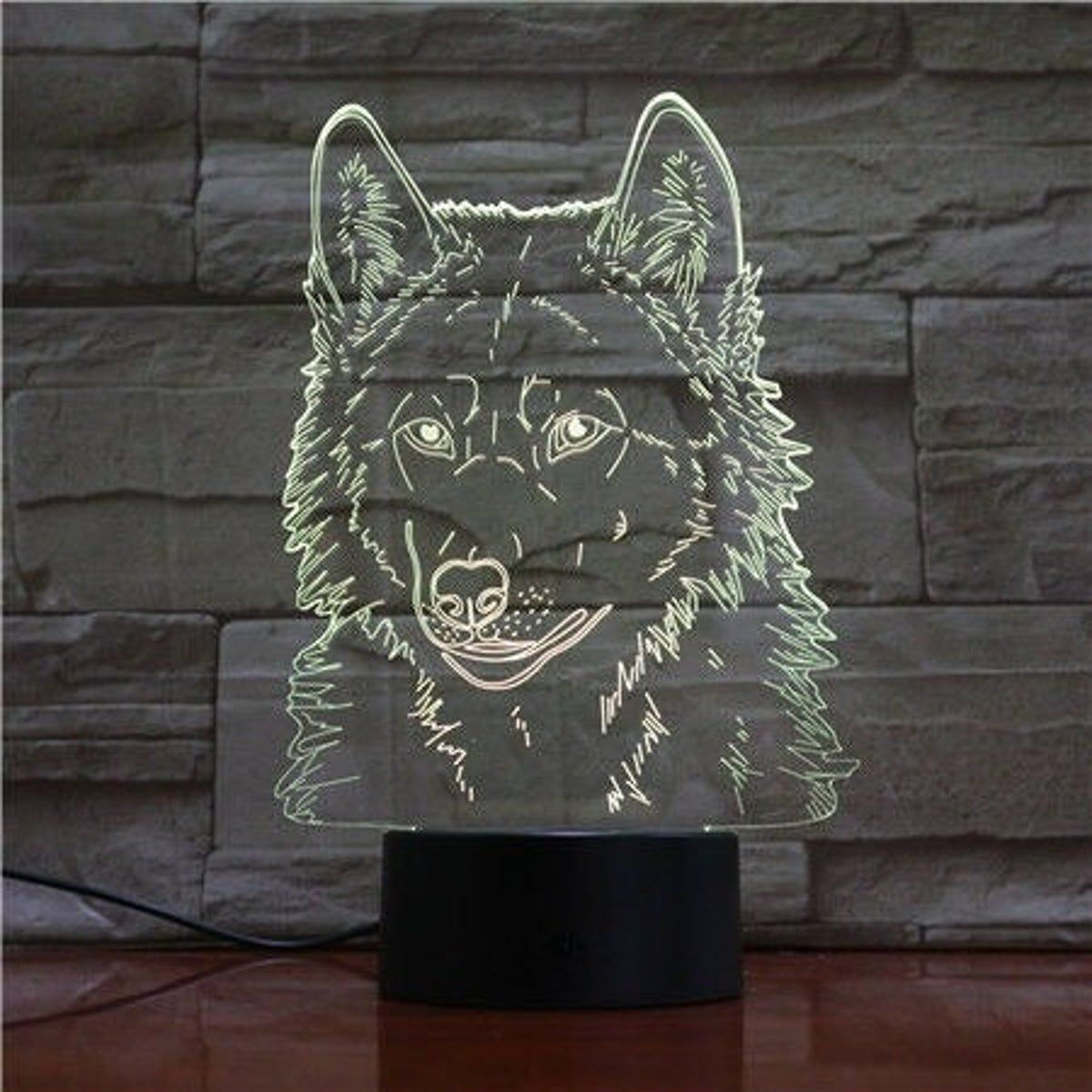 Wolf Lobo Dog Led Nightlight Lamp Lamp Night Light Lamp 3d Optical Illusions