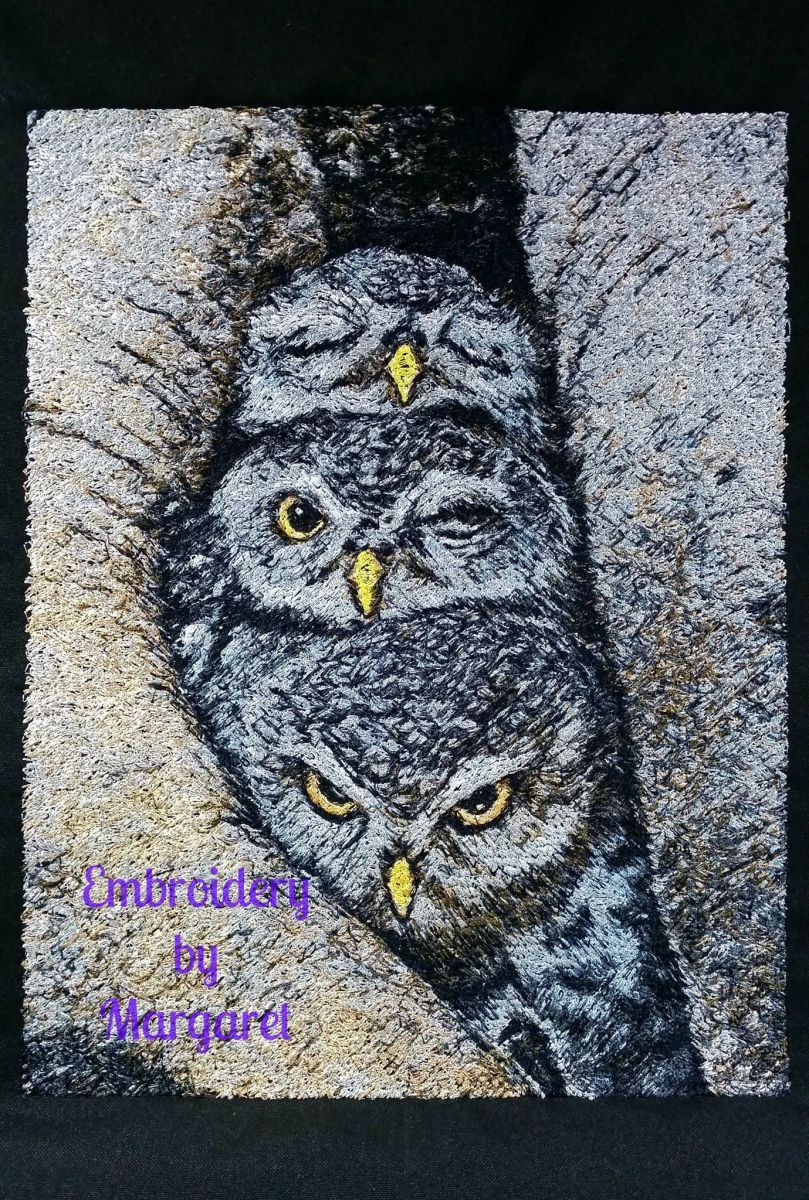 Embroidered Owls Free Design Animals Photo Stitch Embroidery