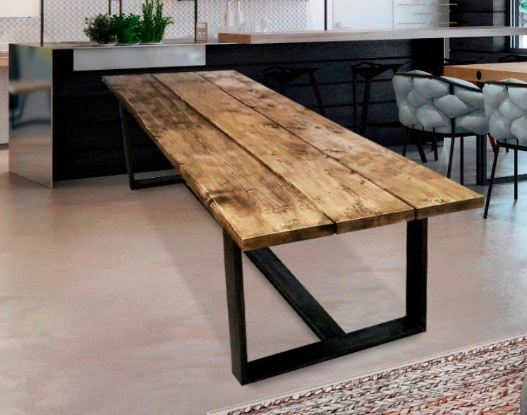 Large Indasrtial Dining Table Loft Dining Table Live Edge Table Reclaimed Wood Table Edward In 2020 With Images Live Edge Dining Table Dining Table Living Table