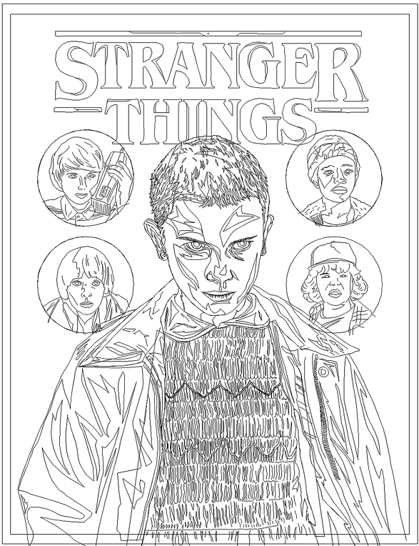 Stranger Things Coloring Page Printable Coloring Books Cartoon Coloring Pages Cat Coloring Book