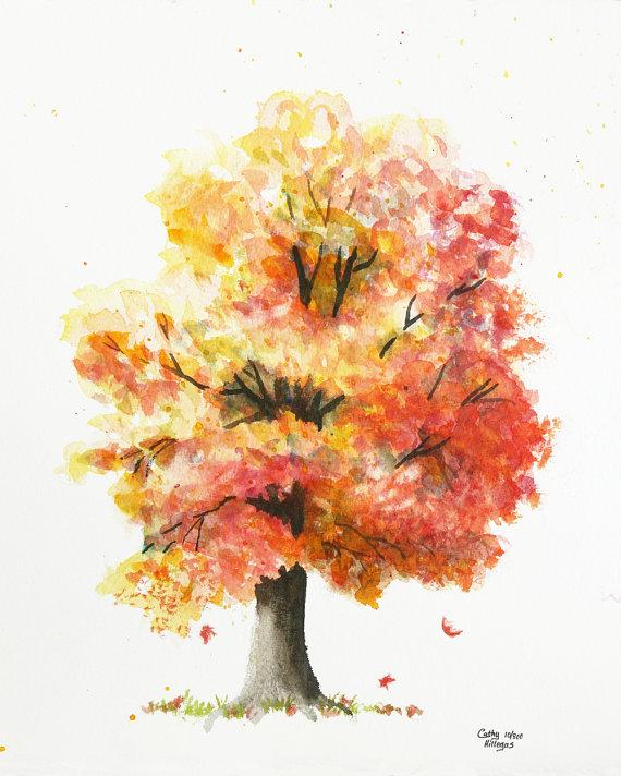 Arbre Automne Peinture Aquarelle Imprimer Par Cathy Hillegas