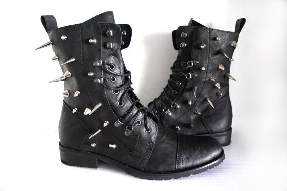 Spiked Faux Leather Combat Boots Black by VileBroccoliFur on Etsy