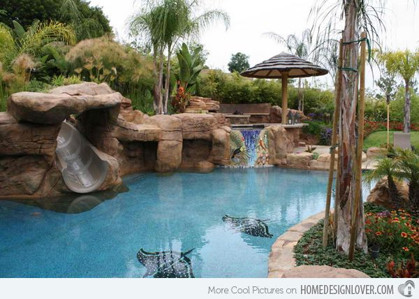 15 gorgeous swimming pool slides - House Pools With Slides