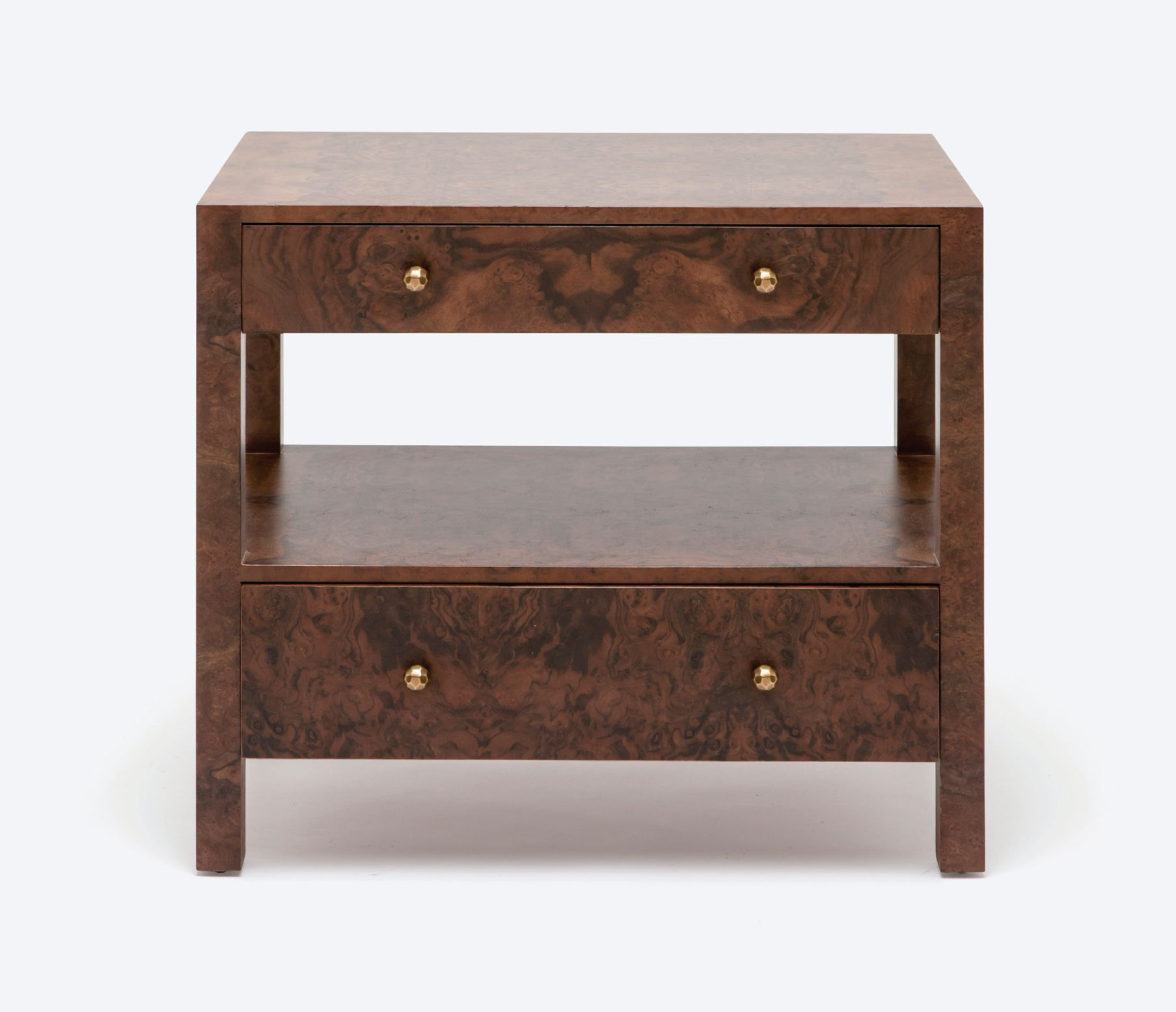 Large Turner Burlwood Bedside Table with Two Drawers and Open ...