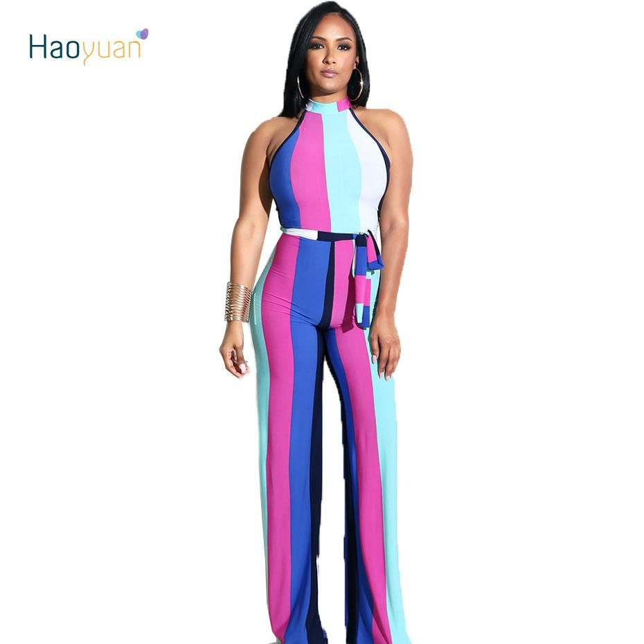 2600ac1d51ff HAOYUAN Off Shoulder Sexy Jumpsuit Club Party Full Bodysuit 2018 Summer Overalls  Striped Wide Leg Pants