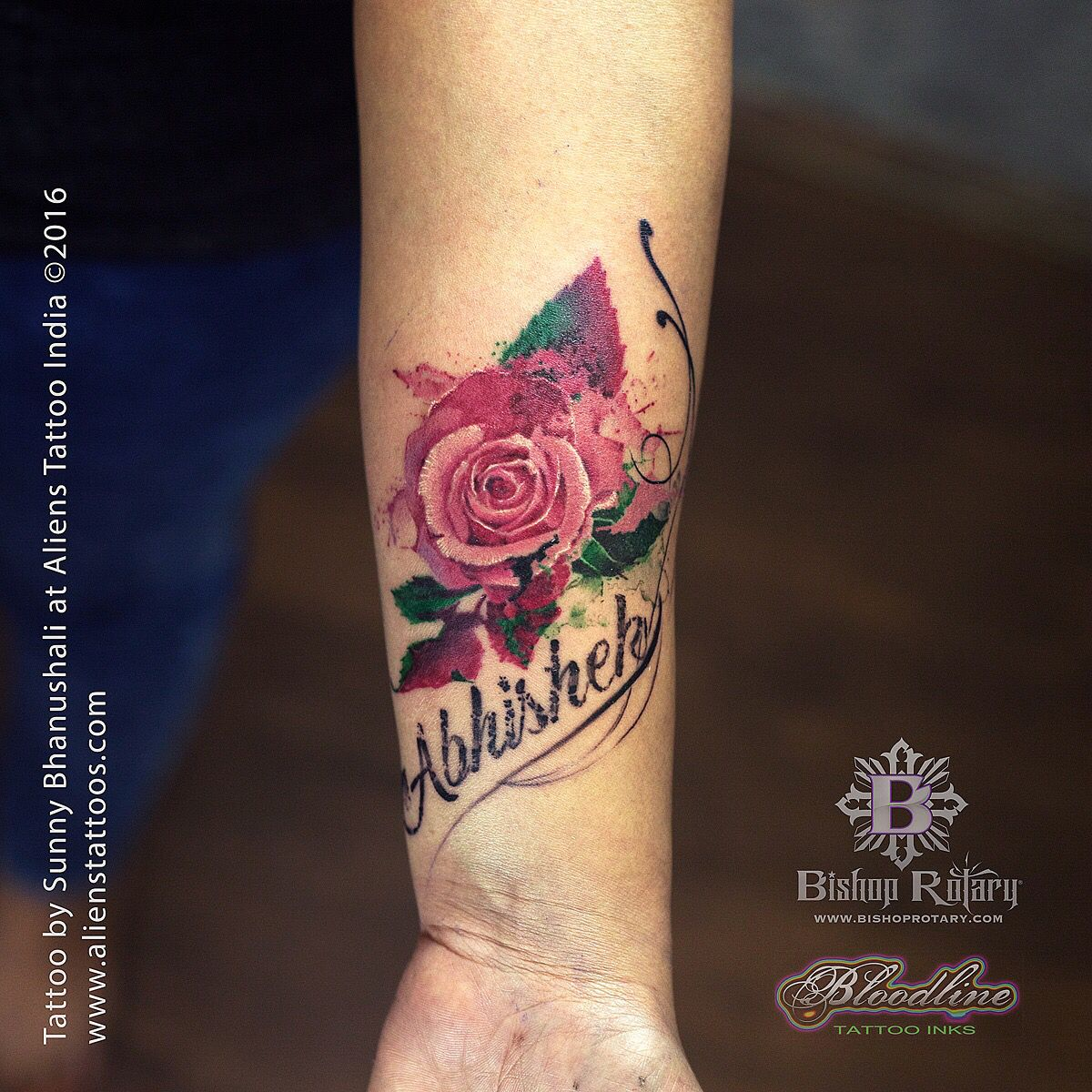 Watercolour Rose Tattoo With Name Tattoo By Sunny Bhanushali At