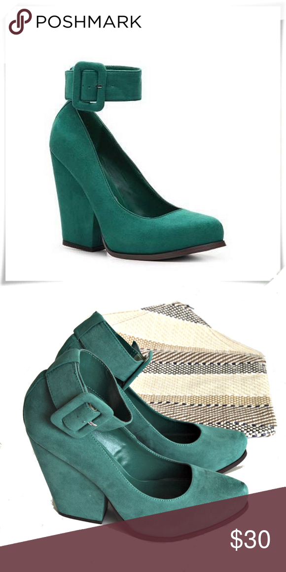 495cac3a587 HeartSoul ♡ Gala platform wedge heels in green 🔹️Funly faux suede shoes  with wide ankle strap and oversized buckle. 🔹️Details  heel 4-1 2