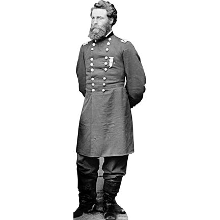 """Size: 6' -  Cardboard cutout of Jefferson C. Davis. Despite being a decorated Officer in the United States Army and serving in the Mexican-American War, Civil War, and Modoc War, he is best remembered for his notorious nature. He gained notoriety as a criminal after his murder of fellow and superior Union Major General, William """"Bull"""" Nelson. He was pardoned of his crimes by Horatio Wright, and continued his service in the Union Army. moviecutouts.com $49.99"""