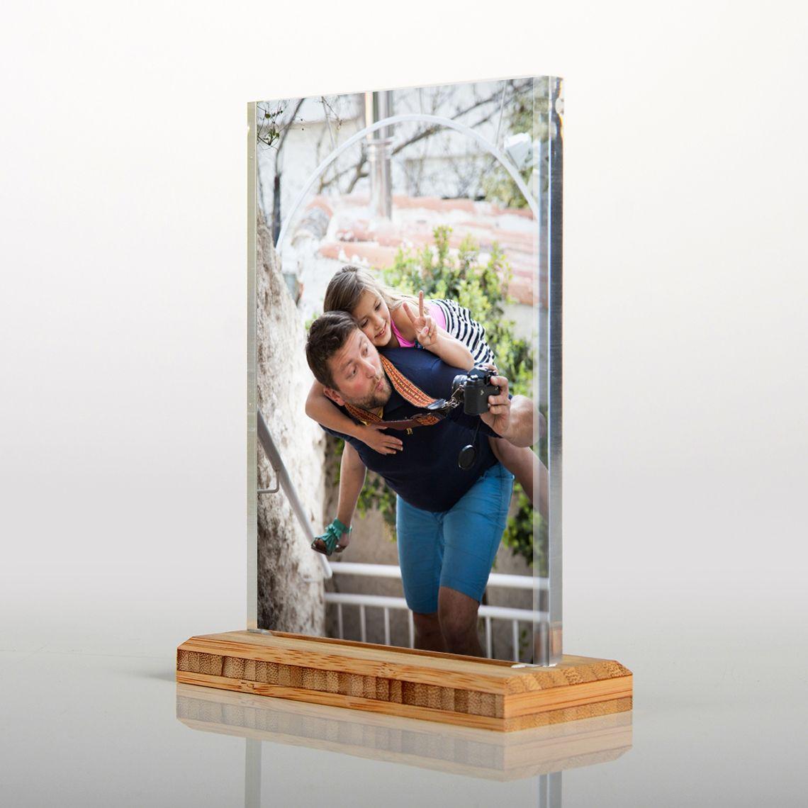 Acrylic Photo Frame With Wooden Base Porta Foto Fotos Ambientacao