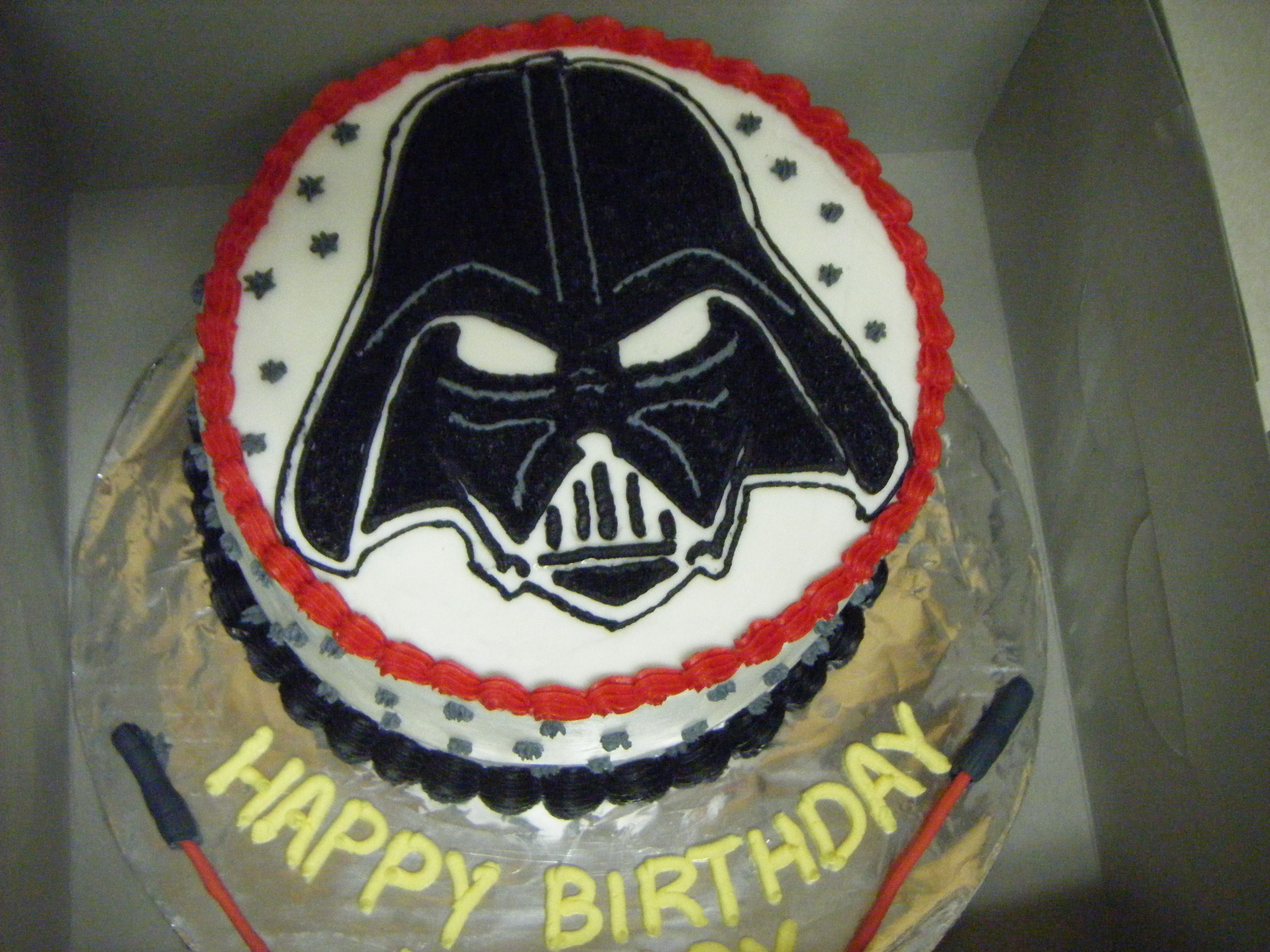 Darth vader birthday cake Two layer 8 chocolate cake with