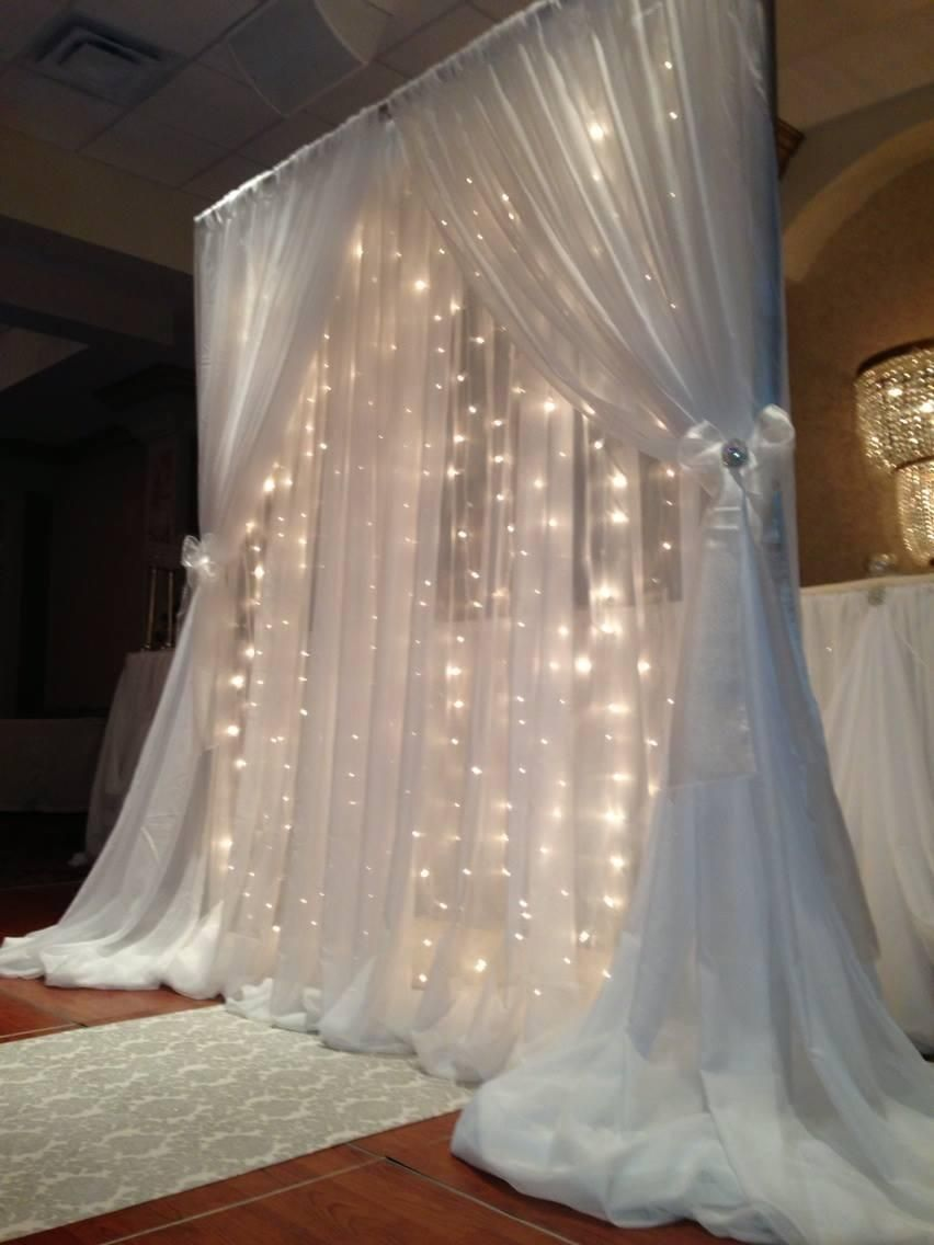 Wedding decorations backdrop  White Led Backdrop Lights Led Backdrops Drapes with Voile Organza