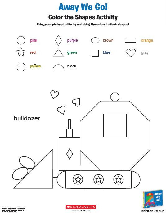 Away We Go Color The Shapes Activity Shapes Activities Reading Printables Preschool Worksheets