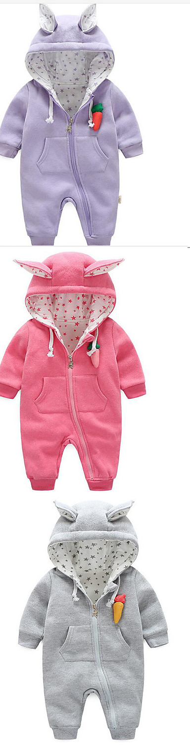 Have you seen anything as charming as this newborn baby rabbit warm jumpsuit? Those ears and carrot will melt your heart. Comes in light candy colors: pink, grey, purple, at just $22.99.