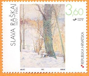 Stamp Featuring Tree In Snow By Slava Raskaj Also Makes Me Think About Stamp Style Edgings Artist Art Vintage Postcards