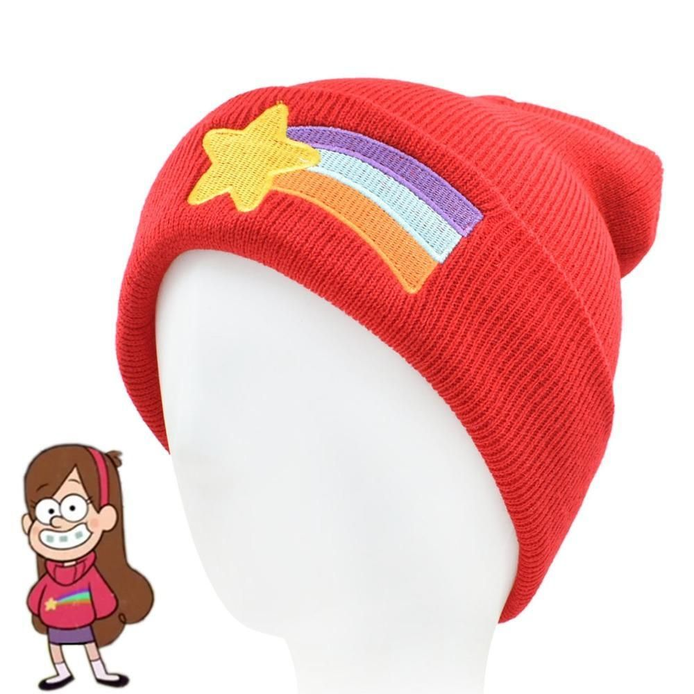 d9b551558e1 CLIMATE Girls Women Winter Warm Hat Gravity Falls Dipper Mabel Pines Red Knit  Beanie Shooting Star Anmation Nice Red Acrylic Hat