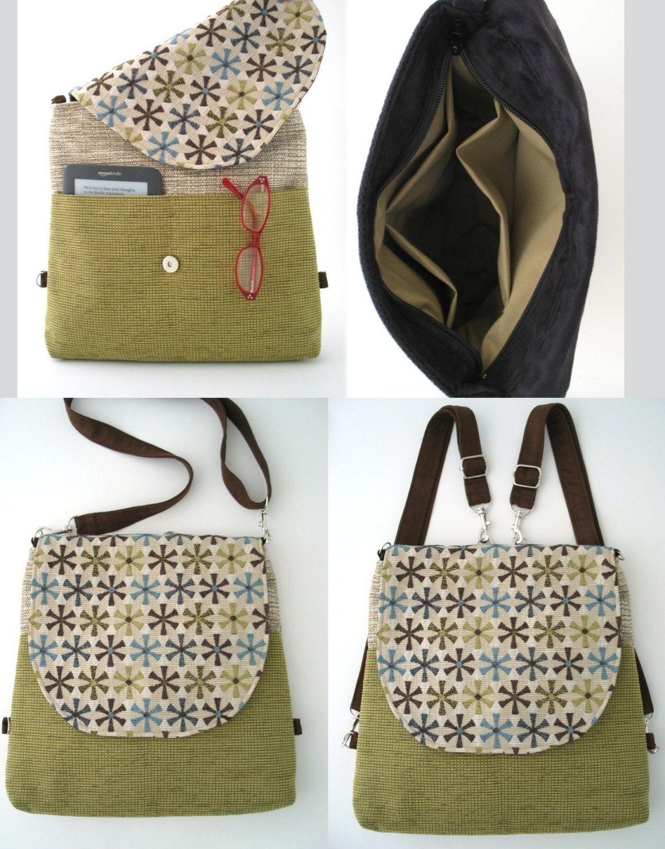 Bag Crossbody convertible Fabric Purse Backpack Bag Messenger nZUvn6O