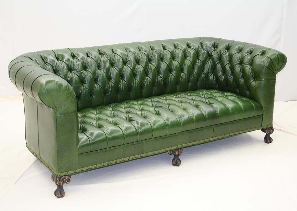 Pine Green Leather Tufted Sofa Western Sofas And Loveseats This