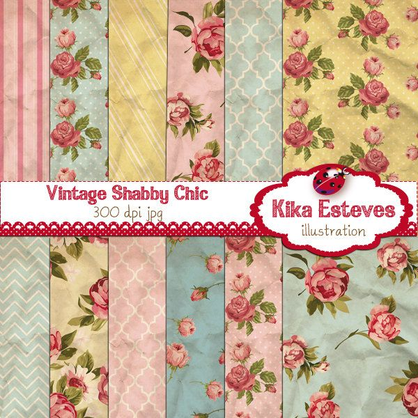 Vintage Shabby Chic Digital Papers - Textured Scrapbooking ...