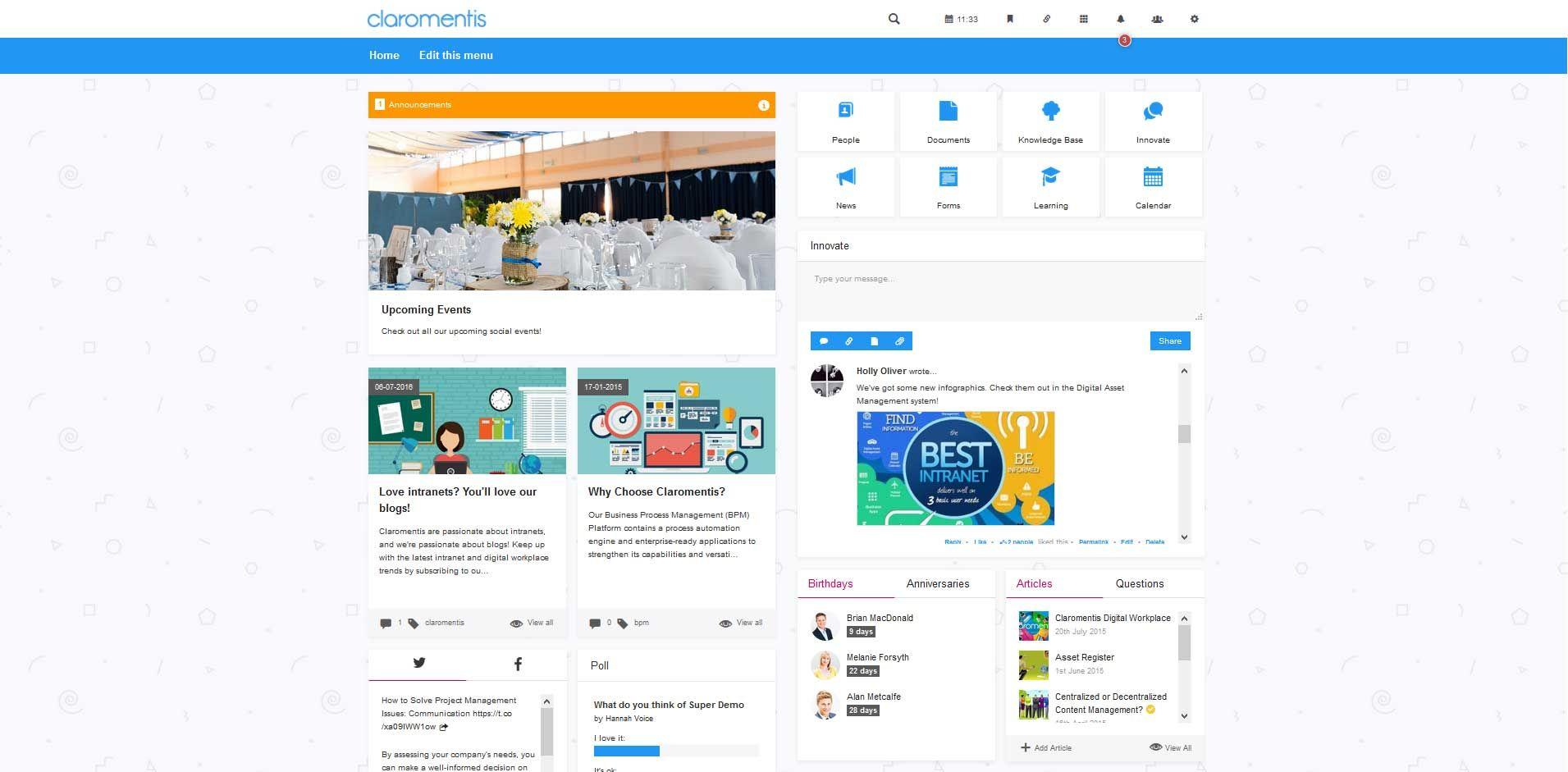 Social intranet design template