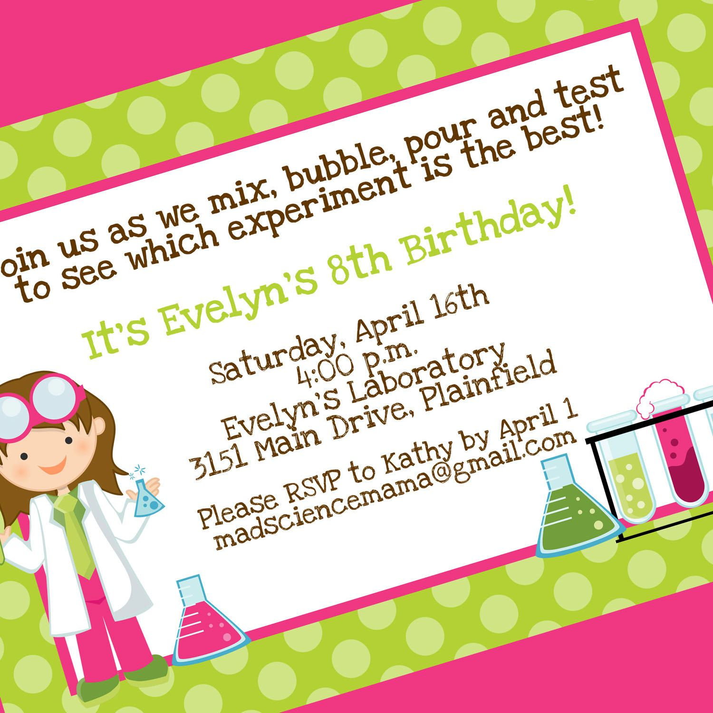 Science Party Printable Invitation Design, Girl Scientist