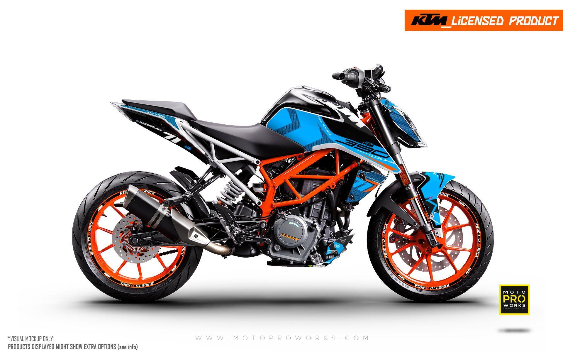Ktm 125 200 250 390 Duke Graphic Kit Rasorblade Blue Motoproworks Decals And Bike Graphic Kit Ktm 125 Ktm Graphic Kit