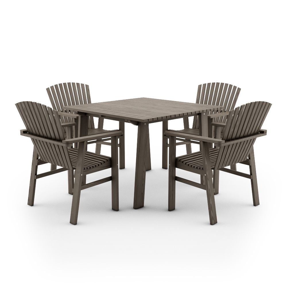Beau IKEA SUNDERO SET OF TABLE AND FOUR CHAIRS WITH ARMRESTS,PINE,GREY
