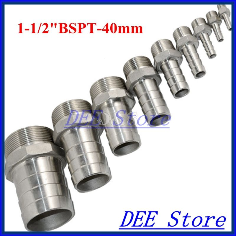 """1//2/"""" BSP Male Hose Tail Barb Water Pipe Thread Connector Fitting Stainless Steel"""
