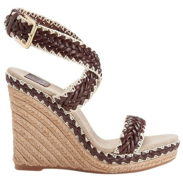 Pre-owned Tory Burch Lilah Espadrille Rope Heels Sandals In Braided... ($200) ❤ liked on Polyvore featuring shoes, sandals, brown, wedges shoes, tory burch espadrilles, brown heel sandals, espadrille sandals and woven sandals