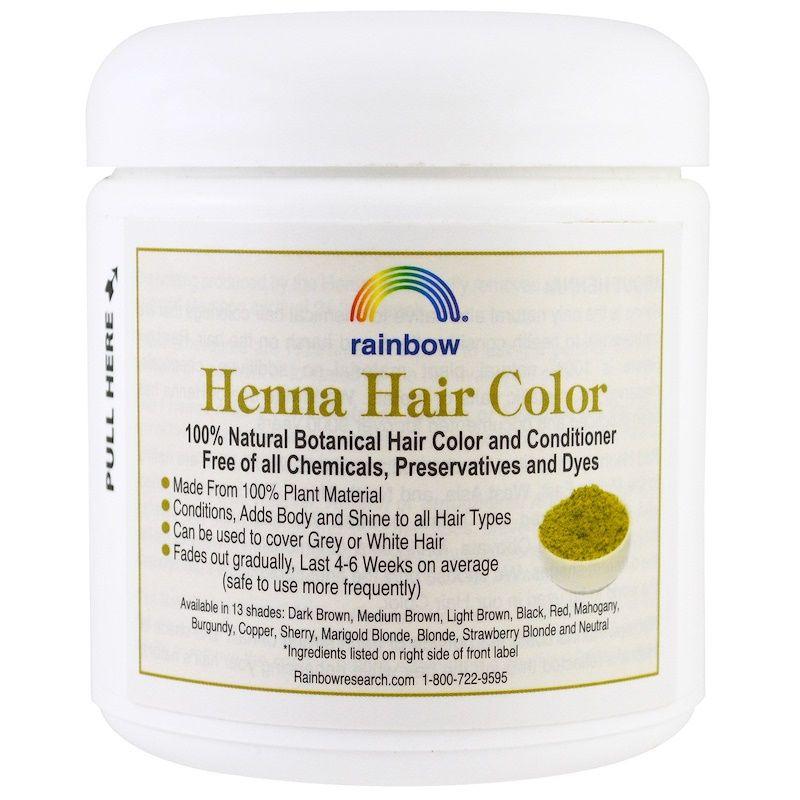 Rainbow Research ح ن اء صبغة شعر مع بلسم طبيعي بني وسط كستنائي 4 أونصة 113 جم Hair Color Henna Hair Color Medium Hair Color