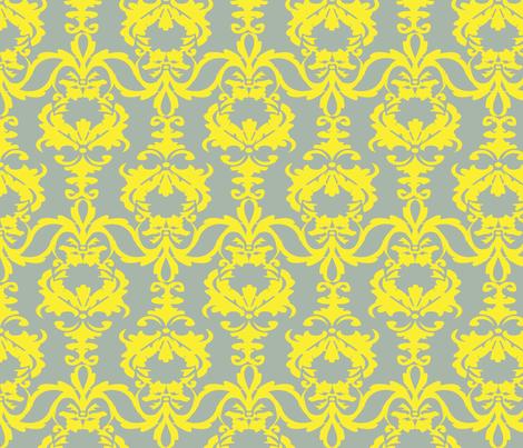 PATIO DAMASK yellow/gray fabric by heatherrothstyle on Spoonflower - custom fabric