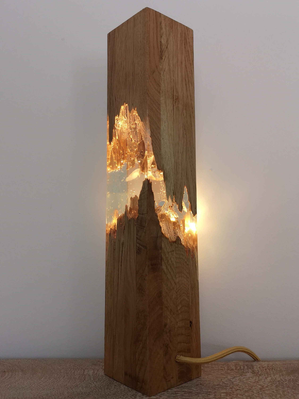 Epoxy Wood Lamp Lamp Night Lamp Resin Table Decor Decor Light Wood Lamp Design Handmade Lamps Wood Lamps