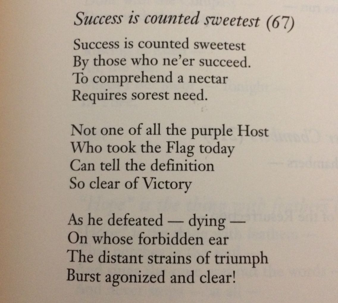 Succes I Counted Sweetest By Emily Dickinson Poem True Faith Meaning