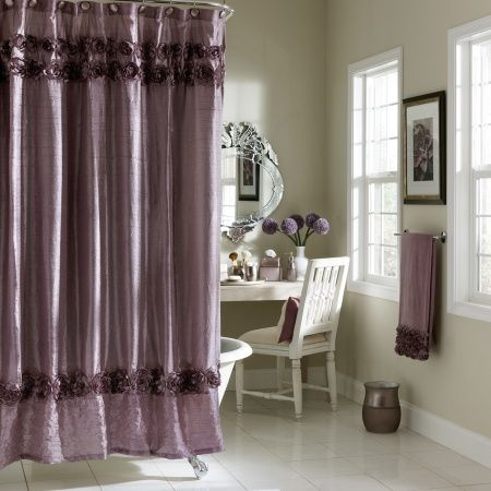 The Graduated Roses Bath Collection Will Give Your Bathroom That S Purple Shower Curtain Living Room Draperies Lavender Shower Curtain