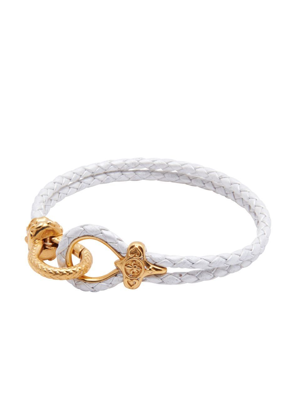 Menus white leather bracelet with gold hook clasp white leather