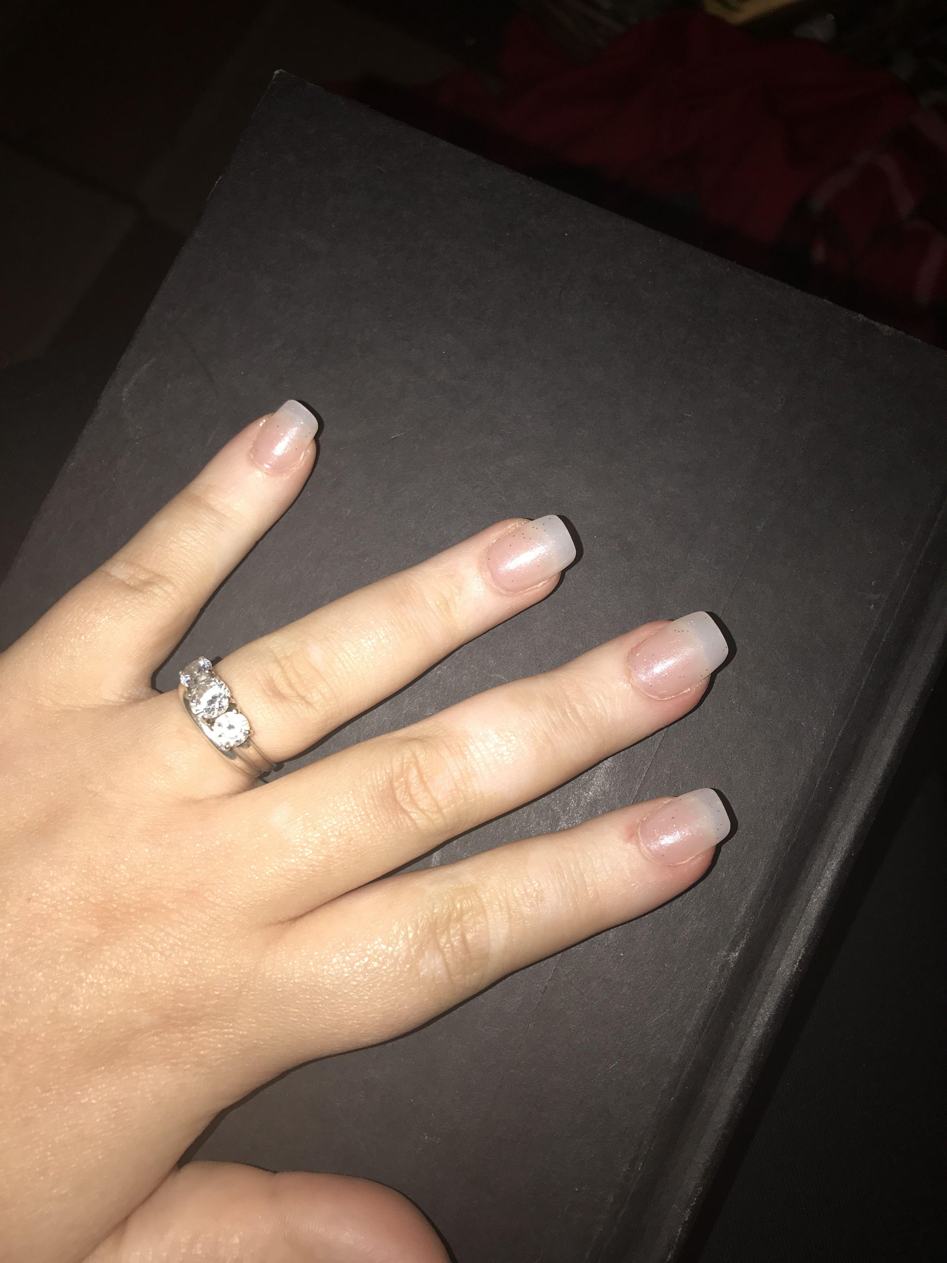 Square long nails with cute polish nails pinterest