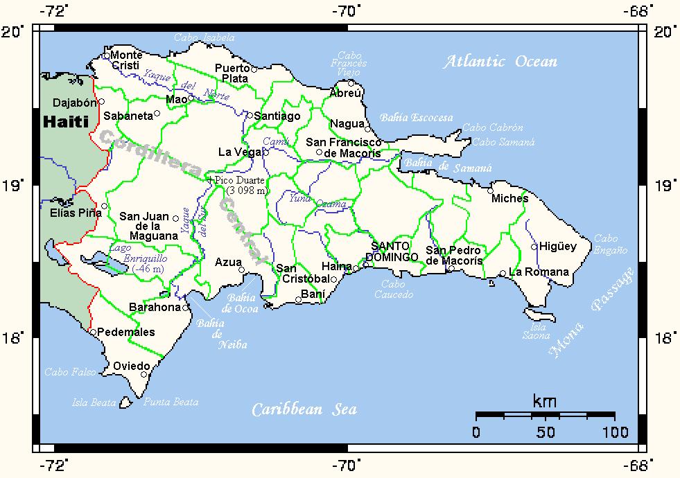 La República Dominicana Limita Al Norte Con El Océano Atlántico A Lo Largo De 586 Km Al Sur Con El Mar Caribe En Una Distancia De 545 Km Al Oe Higuey Map San