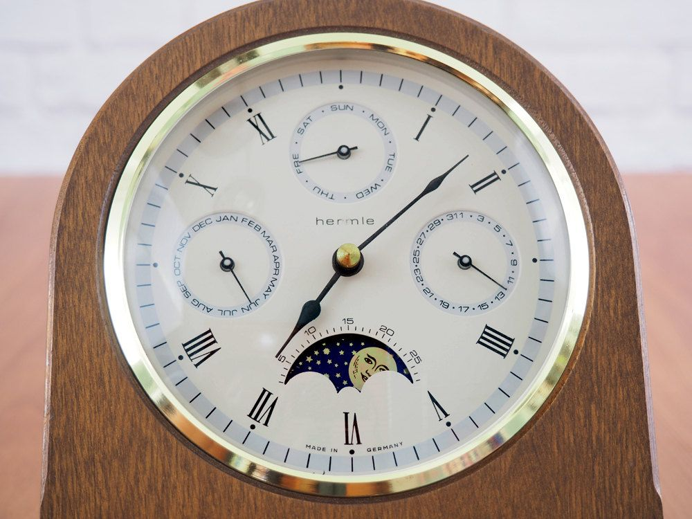 Vintage Hermle Triple Date Moon Phase Wooden Desk Clock