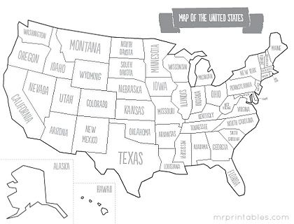 Map Of The United States To Color.Printable Map Of The Usa Also Color Versions And Other Versions
