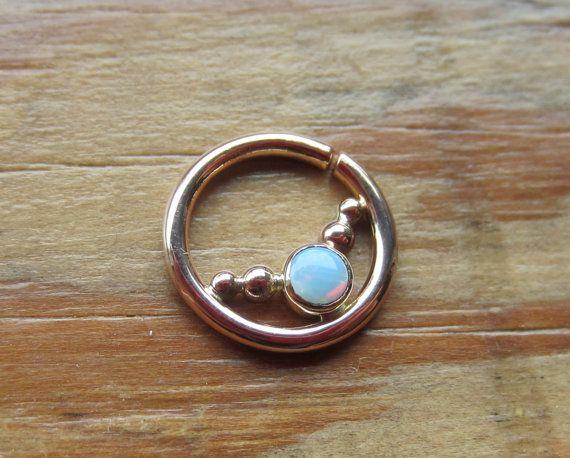 Dew Drops Gem : Gold Nose Ring .. Septum Jewelry .. Opal Nose Hoop .. 3mm Gemstone .. Aprilsblissed .. Nosebling .. Elegant Nose Jewlery