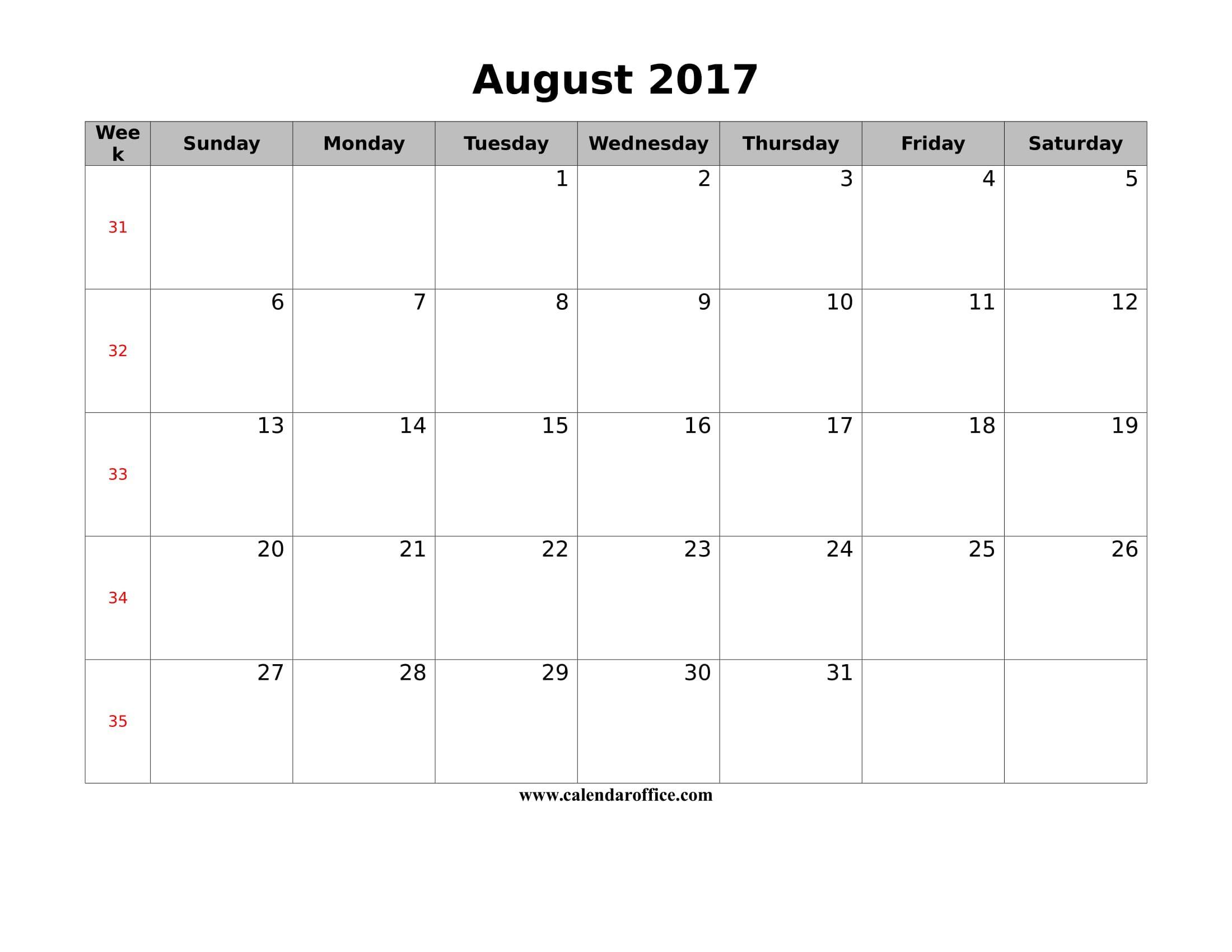 August 2017 Calendar Canada Calendar 2017 Calendar Blank Calendar