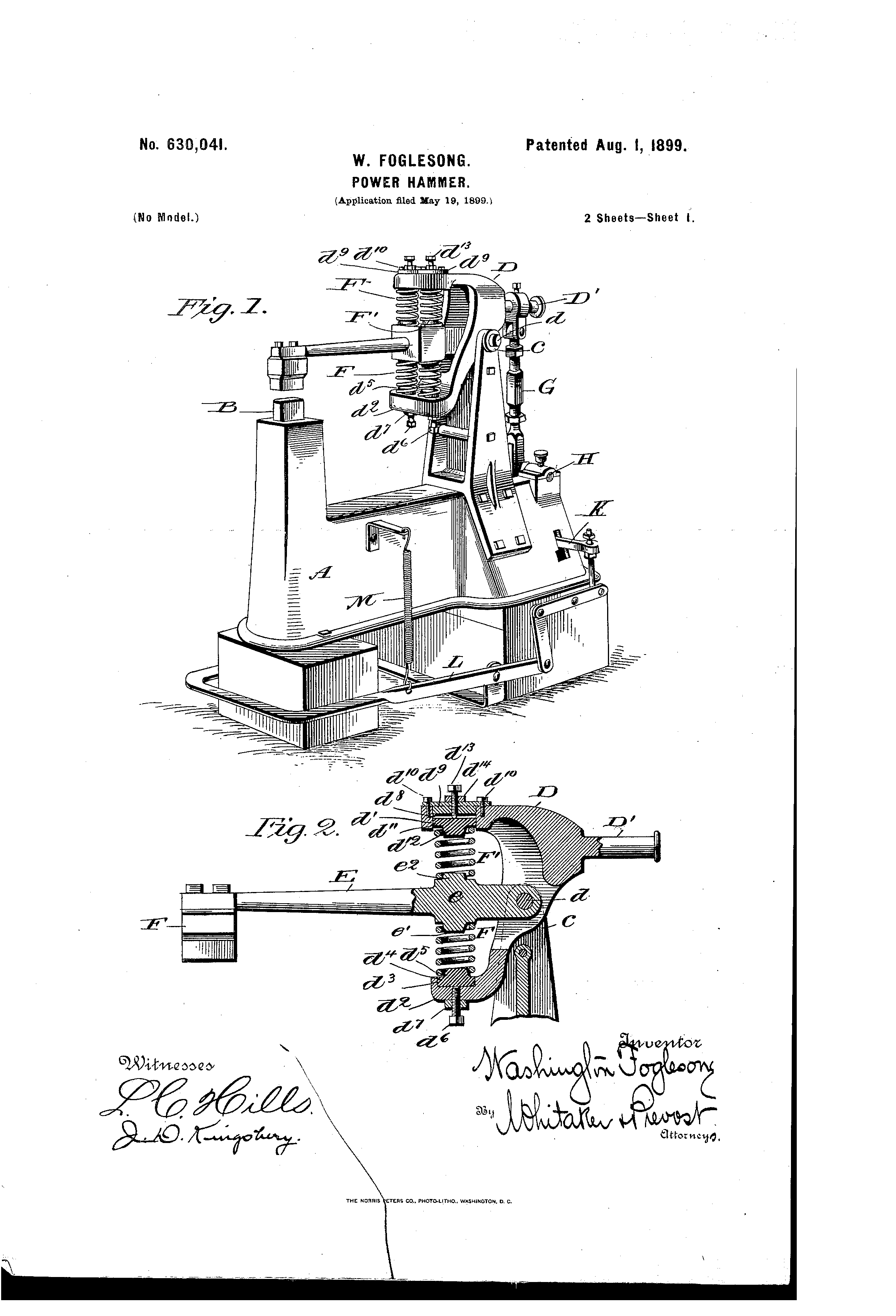 Patent Us630041 Power Hammer Google Patents Power