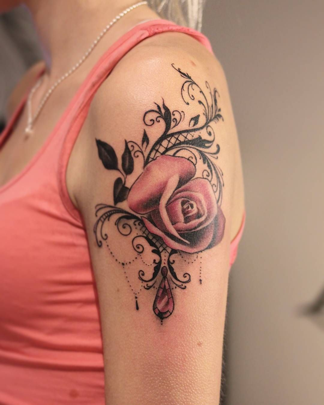 Lovely one rose rosetattoo lace lacetattoo diamond for Rose lace tattoo
