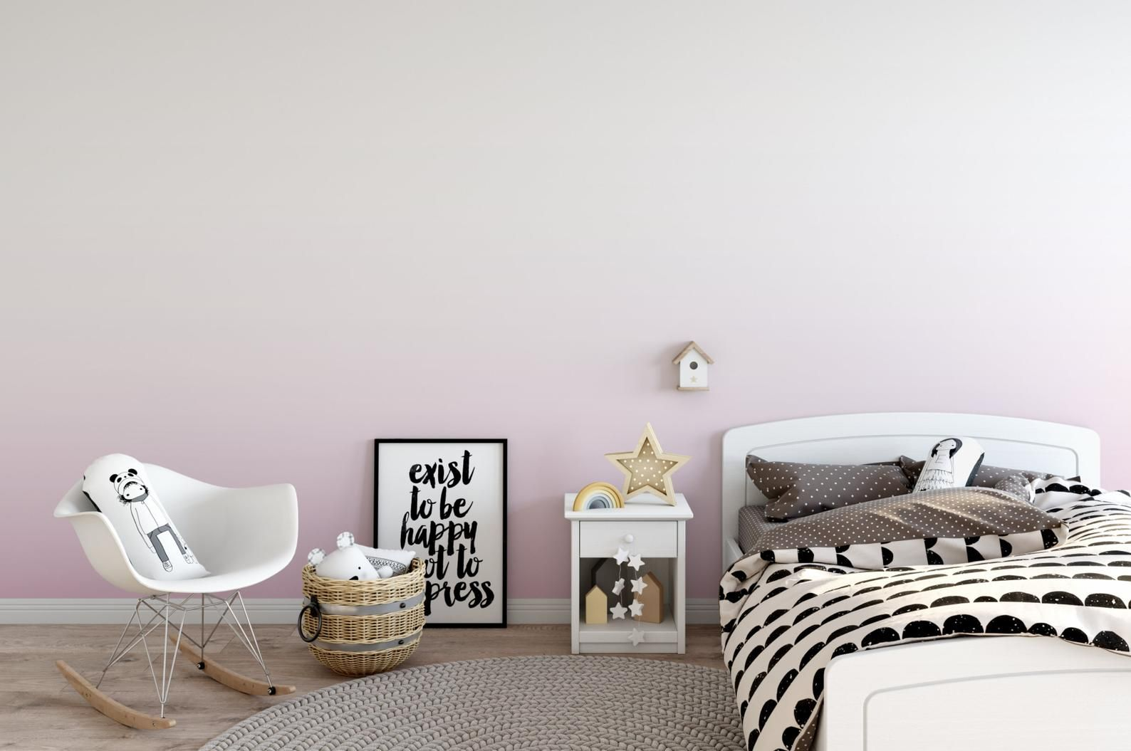 Ballerina Pink Ombre Removable Wallpaper, Soft Pink