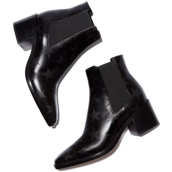 3f83b46cf023b FINAL SALE The subtle star print on these high-heeled, pointed-toe Chelsea  boots is an understated but very cool touch. 100% calf leather with star ...