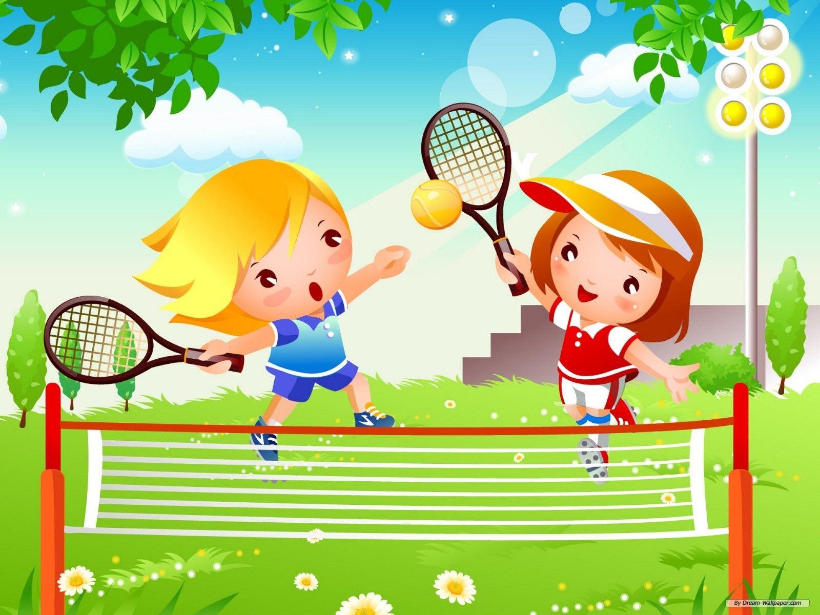 Pin By Sonja Putzeys On Sport Kids Tennis Cartoons Vector Photoshop Wallpapers
