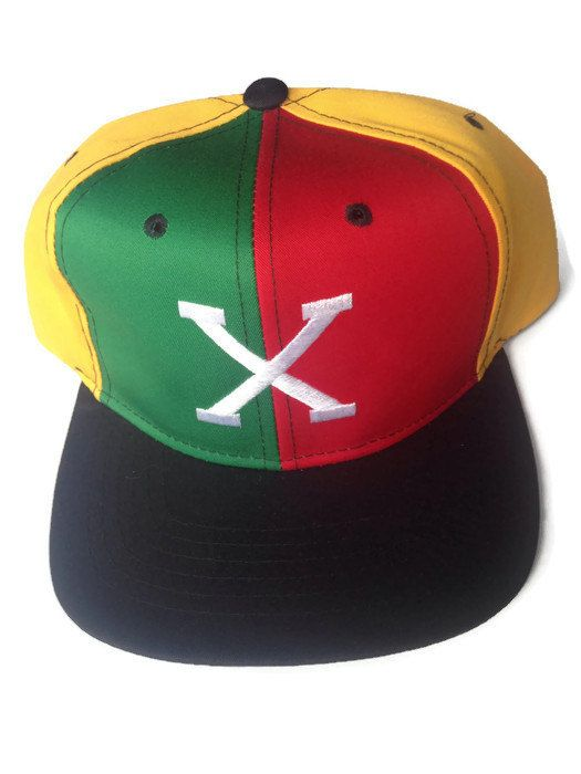 12b7eace15a Malcolm X red yellow green 90s hip hop throwback snap back hat NOS ...