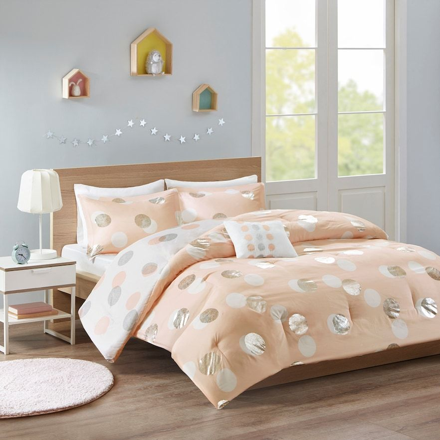 Mi Zone Evelyn Metallic Dot Print Reversible Comforter Set Pink