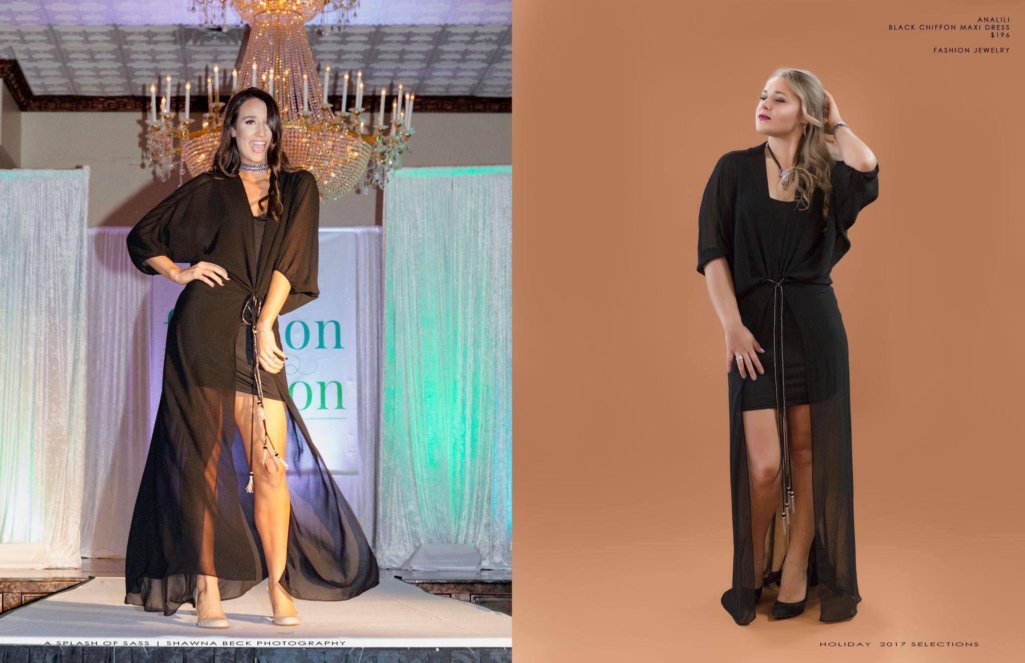 Analili Black Maxi Evening Dress