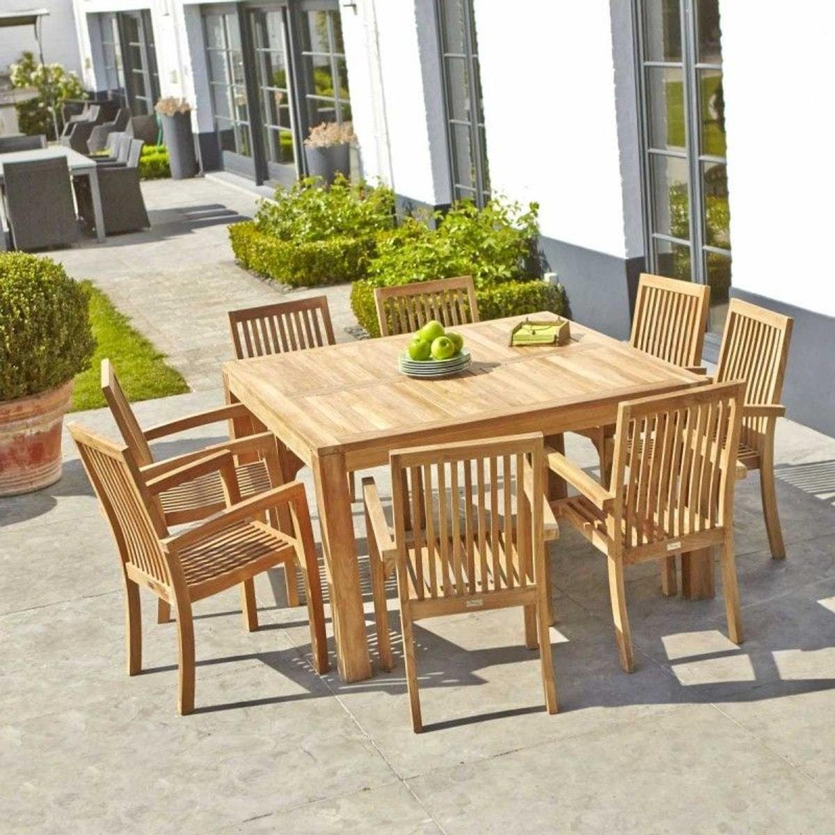 Table de jardin en bois de teck carrée 6 à 8 places ...